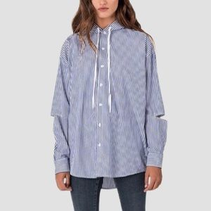 Carmar Hooded Striped Shirt With Side Zip small
